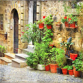 Charming old streets of mediterranean, artistic retro style pict — Stock Photo