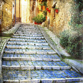 Charming streets of old villages of mediterranean — Stock Photo