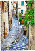 Beautiful old streets of medieval italian villages, artistic vin — Stock Photo