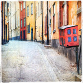 Streets of old town in Stockholm — Stockfoto