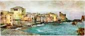 Old village in Corsica - Erbalunga, artistic  picture — Stockfoto