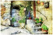 Charming old streets of italian villages (Casperia), artistic pi — Stockfoto