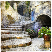 Streets of old Italian villages- Casperia, artistic picture — Stock Photo