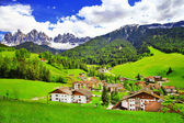 Amazing scenery of Dolomites, Italian Alps, View with village Ma — Stock Photo