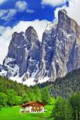 Alpine scenery - wooden house in Dolomites, north of Italy — Stock Photo