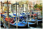 Venetian canals and gondolas. artwork in painting style — Stock Photo