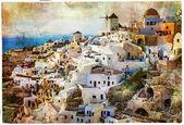 Sunset in Santorini - artwork in painting style — Stock Photo