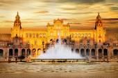 Beautiful Plaza de Espana on sunset, Sevilla, Spain — Stock Photo