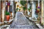 Charming old streets of Provence villages, France, artistic pctu — Stock Photo