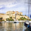 Holidays in Corsica, view with marina and fortress — Stock Photo #66700443