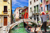 Venetian vacations. colorful sunny canals of beautiful city — Stock Photo
