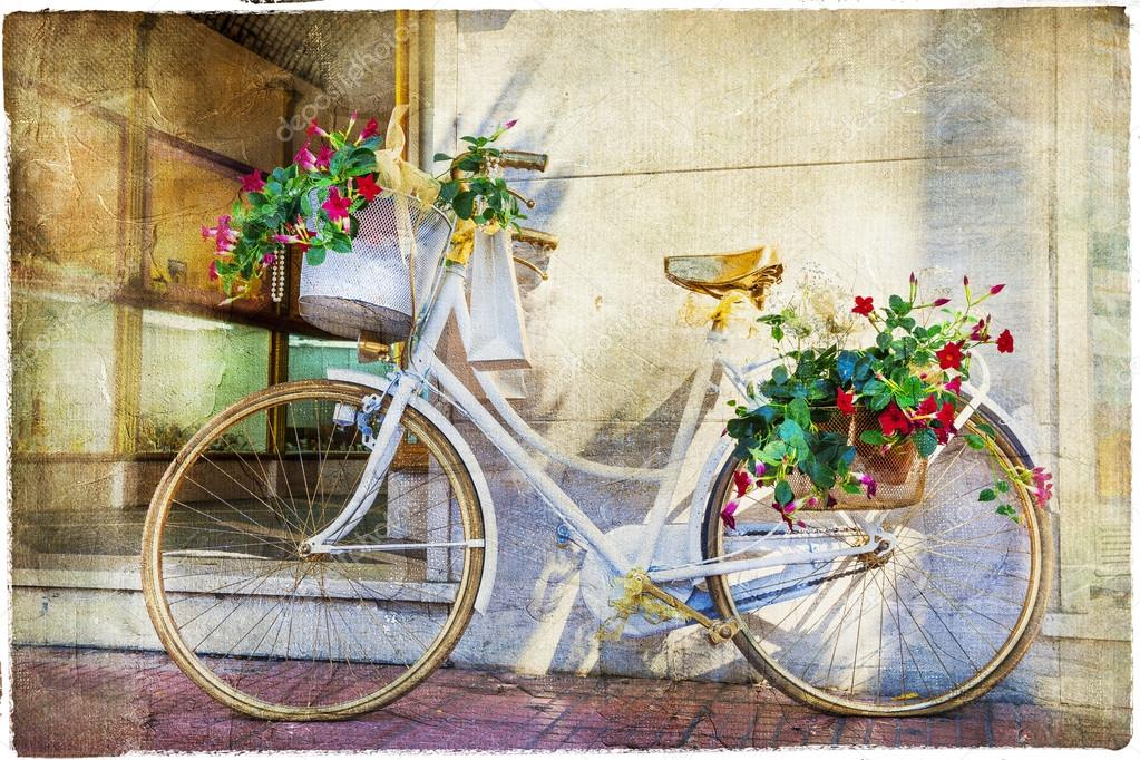 bicicleta floral art stico cuadro vintage foto de stock. Black Bedroom Furniture Sets. Home Design Ideas