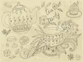 Sketch of tea party — Stock Vector