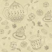 Sketch of tea party. Seamless pattern — Vettoriale Stock