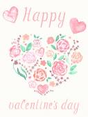 Valentines day greeting watercolor card — Stock Vector