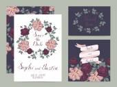 Wedding set cards — Stock Vector