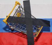 Koszyk na fladze Rosji — Zdjęcie stockowe