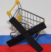 Shopping cart on Russia flag — Stock Photo