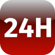 24H red icon or button  — Stock Photo #52885451