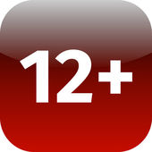 Restriction on age 12 plus  red and white icon — Stock Photo