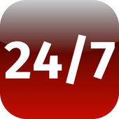 247 nonstop time red icon — Stock Photo
