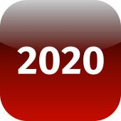 Year 2020 red icon — Stock Photo