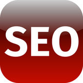 Red seo icon for web app — Stock Photo