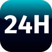 24H blue icon or button  — Vector de stock