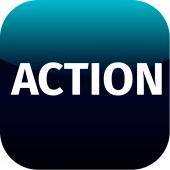 Action blue icon — Stock Vector