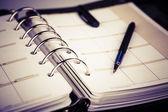 Personliga arrangör eller planner med penna på vit bakgrund — Stockfoto