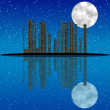 City at night, with moon, stars and reflection in water — Stock Photo #57110237