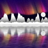 Illustration of snow mountains at night and mirror in the water — Stock Photo