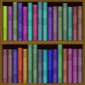 Texture of funny color bookshelf, bookcase — Stock Photo