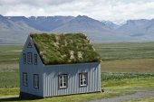 Old scandinavian house with grass on the roof — Zdjęcie stockowe