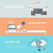 Flat web design concepts. Web coding, development and startup. — ストックベクタ