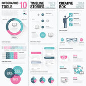 Flat long shadow pink and blue creative infographic vector set — 图库矢量图片