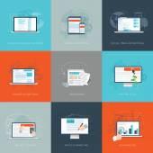 Modern flat internet marketing business vector illustrations set — Stock Vector