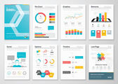 Infographic flyer and brochure designs and web templates vectors — Stock Vector