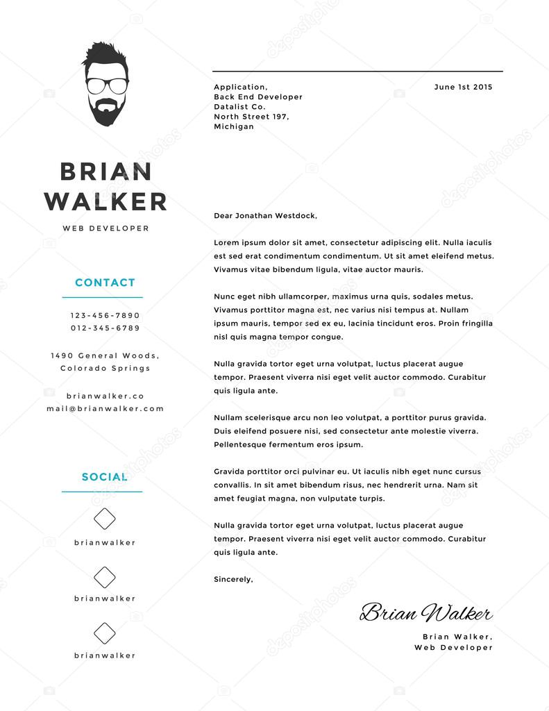 creative and minimalistic personal vector cover letter