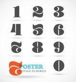 Set of vintage and retro numeric font numbers for abstract art — Stock Vector
