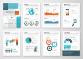 Big set of infographic elements in fresh flat business style — Stock Vector
