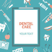 Medical clipboard with dental care text — Vector de stock