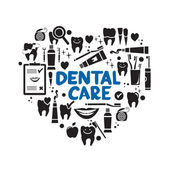 Dental care symbols in the shape of heart — Stock Vector