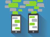 Smartphones with blank speech bubbles — Stock Vector