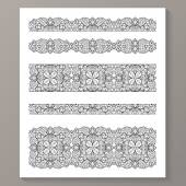 Set of seamless lace borders with transparent background — Stock Vector