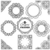 Set of lace frames and corners with transparent background — Stock Vector