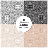 Set of seamless lace backgrounds, delicate vintage patterns — Stock Vector