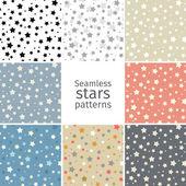 Set of 8 seamless stars patterns — Stock Vector