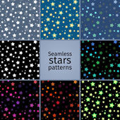Set of 8 seamless stars patterns — Stock Vector