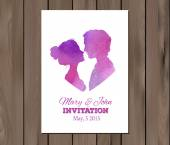 Vector save the date wedding invitation with watercolor elements — Stock Vector
